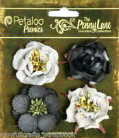 Ruffled Roses CHARCOAL - 4 Mixed Paper Flowers 3.5 to 4cm across Petaloo LB/P