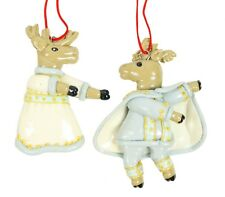 Handcrafted Silvestri Moose Prince Princess Christmas Ornament Holiday