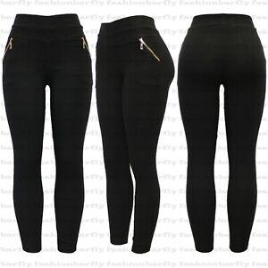 New Ladies Women Zip Black Stretchy Pull On Jeggings Legging Size 8-20