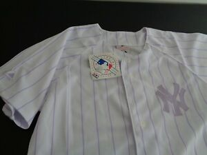 NEW YORK YANKEES Baseball MAJESTIC White Purple Pinstripe Girls Size 16 Jersey