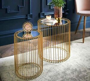 Set Of 2 Round Cage Table Mirror Top Coffee Table Side Table Living Room Gold
