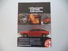 advertising Pubblicità 1979 ALFA ROMEO ALFASUD SPRINT