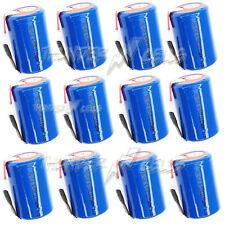 12 pcs NiCd 4/5 SubC Sub C 1.2V 1600mAh Rechargeable Battery with Tab Blue