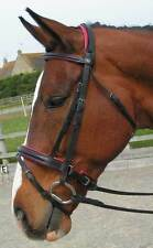 CS Comfort Bridle Black with Rasberry Pink padding crank  FULL with Reins