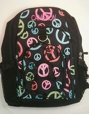 Pottery Barn PB Teen Black Dotty Peace Sign Gear Up Large Backpack name CAMERON
