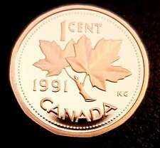 1991 1 Cent Penny Canada Proof - Heavy Cameo - From Mint Set