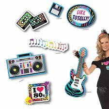 12 Retro 80s Card Cut out Stick on Wall Disco Card Decoration Casettes Boom Box