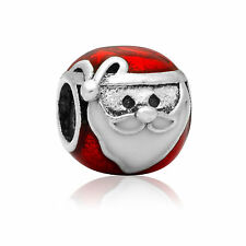 Santa Claus Christmas Red Enamel & Silver & White Charm Bead Euro Pandora Size
