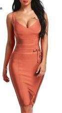 Boutique CB Bandage Bodycon Midi Dress 100% Rayon Burnt Orange UK M RRP: £150!