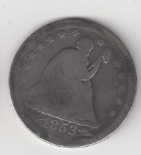 1853 25C Seated Silver Quarter with Arrows and Rays-Liberty