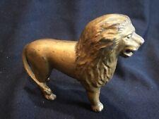 Antique Cast Iron Lion Still Coin Penny Bank Gold Original Paint