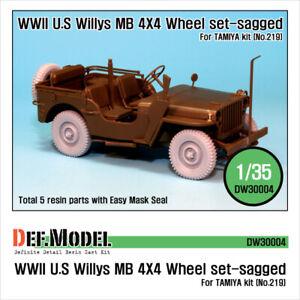 1/35 WWII US Willys MB 4x4 Truck Sagged Wheels Set for Tamiya kit #219 (5pcs)