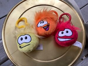 DISNEY CLUB PENGUIN Set of Three Red Orange Yellow 2 Inch Plush Puffle Clip On