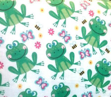 SMILING Frogs Bumble Bees Flowers on White Flannel  BTY