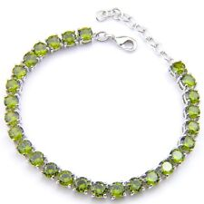 100% Handmade Jewelry Round Cut Olive Peridot Gemstone Silver Charming Bracelets