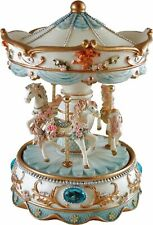 More details for collectable musical carousel with turning horses blue - plays edelweiss