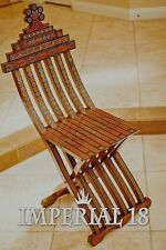 Handmade WOODEN MOSAIC Mother of Pearl wooden Chair Vintage