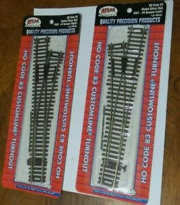 HO Scale ATLAS LEFT & RIGHT CODE 83 TURNOUT NICKEL SILVER SET, NEW In Package 1.
