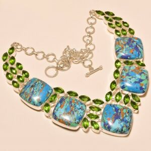 """Rainbow Calsilica & Chrome Diopside 925 Sterling Silver Necklace 17.99"""" (11048)"""