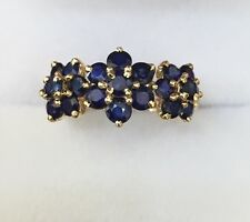 14k Solid Yellow Gold Flower Cluster Ring 2.22CT Natural Blue Sapphire 2.75GM
