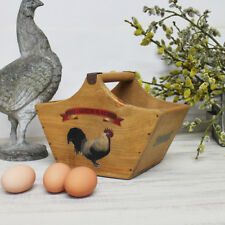 Rustic Egg Basket Vintage Wooden Crate Farm Fresh Eggs Box St Lawrence Jersey