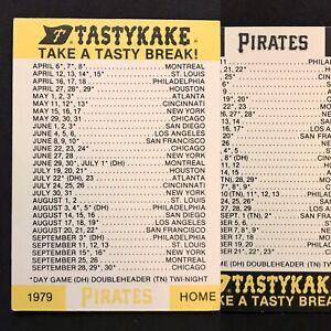 1979 Pittsburgh Pirates Baseball Pocket Schedule Tastykake