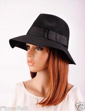 M90 Stylish Cool Floppy Wide Brim 100% Wool Cashmere Hat Cap Fedora BLACK