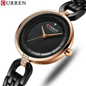 CURREN Quartz Women Watches Luxury Rhinestone Steel Bracelet Girls Wristwatch