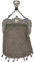 .STUNNING LARGE 1800s HEAVY SET STERLING SILVER CHAINMAIL SPORRAN STYLE PURSE.