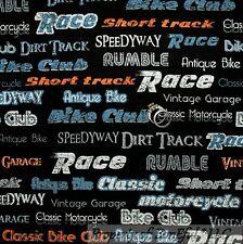 BonEful FABRIC Cotton Quilt Black Gray Race Car Dirt Bike Motorcycle Boy L SCRAP