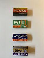Vintage Razor Blades; Single Edge; NOS Unused; 4 Boxes; 1940's to 1950's; Lot #4