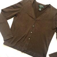 Lauren Ralph Lauren Women's Size S Petite Cardigan Brown Silk Blend