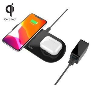 iLuv MYPWR200ULBK Qi Certified 2-in-1 Fast Wireless Charging Pad