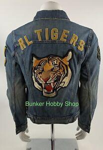 Polo Ralph Lauren Denim Embroidered Varsity Jacket RL Tigers 1967 Size Large