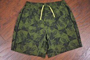 "Lululemon Pace Breaker 9"" Lined Shorts Green Print Men's Large L"