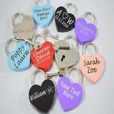 Engraved Love Lock Padlock wedding engagement anniversary bridge boyfriend key