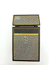 Miniature VOX Classic Amplifiers. Miniature set. Miniature guitar. Mini drum set