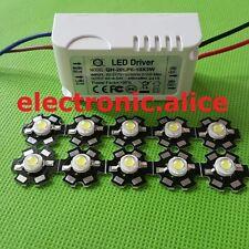10X 3W Cold White 6000-6500K High Power LED chip + AC 110/220V 6-10x3w driver
