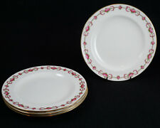 "Cauldon England Stoke on Trent Pink Rose Garland Gold Rim Salad Plates 8"" Set 5"