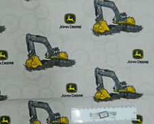 Patchwork Quilting Fabric JOHN DEERE DIGGERS WHITE Cotton FQ 50X55cm NEW Mate...