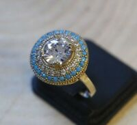 Turkish Handmade Jewelry Sterling Silver 925 Zircon Ladies Ring 6 7 8