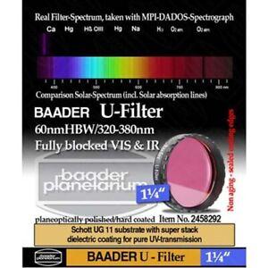 "Baader Planetarium 1.25"" U Filter (Venus and Ultraviolet) # FUV-1 2458292"