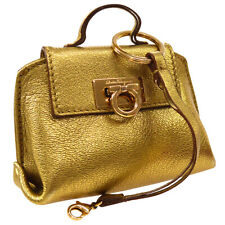 Salvatore Ferragamo Gancini Mini Pouch Bag Purse Eco Bag Gold Leather AK25950h