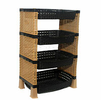 Raddan Stylish 4 Tier Plastic Fruit Vegetable Kitchen Storage Rack Trolley CS-S