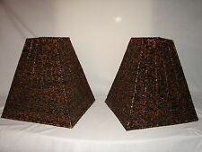 Vintage Pair of Glass Black and Gold Beaded Lamp Shades ~ 12 3/4 Tall