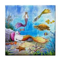 Cat Mermaid 31 Turtle Fantasy Large Ceramic Tile 6x6 Made USA art LDumas