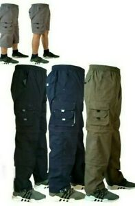 3 in1Mens New Elasticated Lightweight Cargo Combat Work Trousers  Bottoms Shorts