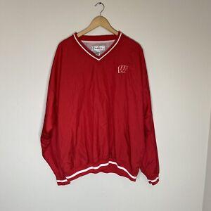 Vintage 90s University Of Wisconsin NCAA FOOTBALL Windbreaker Jacket Mens XL