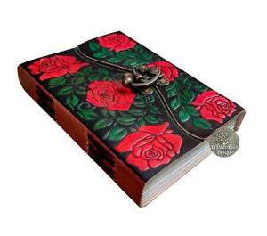 Leather journal beautiful rose embossed handmade leather journal notebook diary