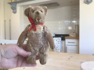 Antique vintage Steiff Bear,Straw stuffed mohair worn toy bear,with button